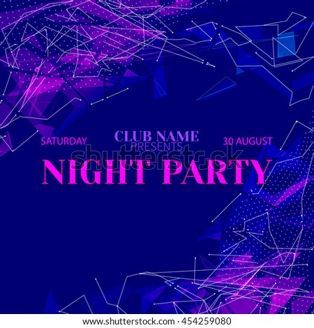 Vector festive banner design template for Club Night Party.Magic disco background with geometric fragments - stock vector