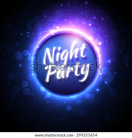 Vector festive banner design template for Club Night Party with glowing ball in center and glitters around. Magic blurred disco background with blue and purple color lights - stock vector