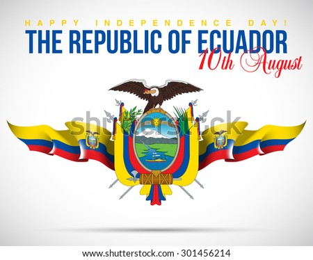 """vector festive banner with flags of The Ecuador and an inscription """"The Republic of Ecuador Happy Independence Day! 10th August"""" - stock vector"""