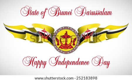 "vector festive banner with flags of The Republic of Brunei and an inscription ""State of Brunei Darussalam. Happy Independence Day"""