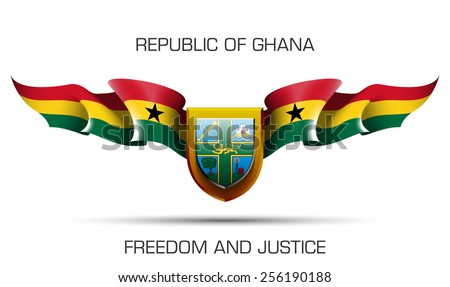"""vector festive banner with flags of The Republic of Ghana and an inscription """"Republic of Ghana, Freedom and Justice"""" - stock vector"""