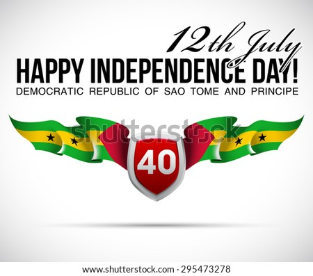 """vector festive banner with flags of The Sao Tome and Principe and an inscription """"12th July Happy Independence Day! Democratic Republic of Sao Tome and Principe"""" - stock vector"""