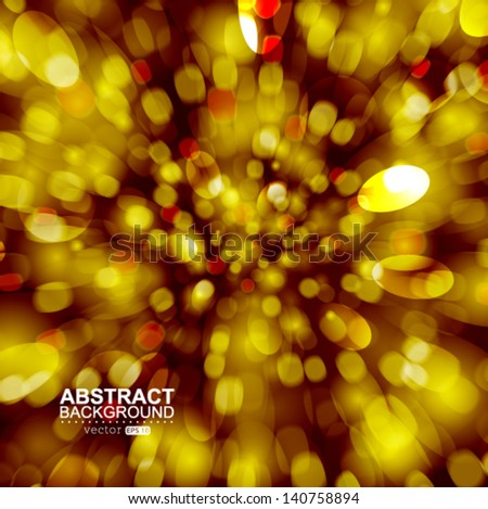 Vector festive golden explosion with fast motion. - stock vector