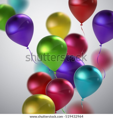 Vector festive illustration of flying realistic glossy balloons. Multicolored birthday balloon bunch. Decoration element for holiday event invitation design