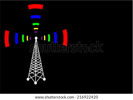 Vector Fi-Wi tower - stock vector