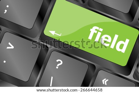 vector field word on keyboard key, notebook computer button - stock vector