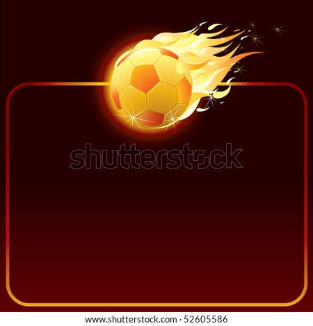vector fiery soccer ball-background for your text (only gradients used) - stock vector