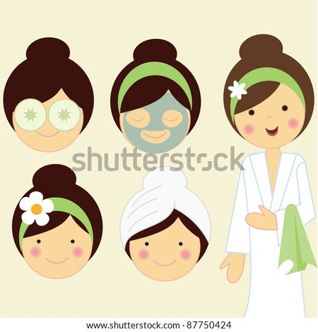 Vector figure and faces of girls standing in the spa or for therapy, massage for relaxation.