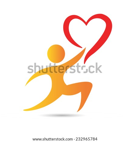 Vector figure with heart icon conceptual design template - stock vector