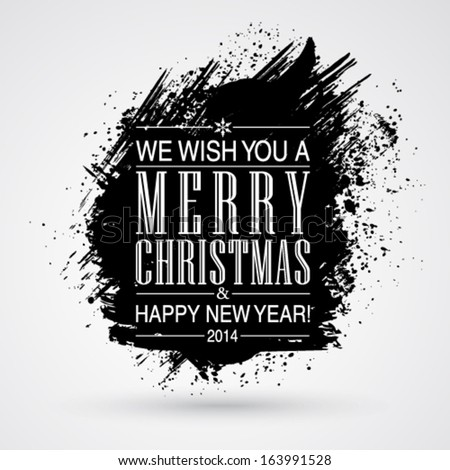 Vector figured brush strokes brush and ink. Merry Christmas and Happy New Year background. - stock vector