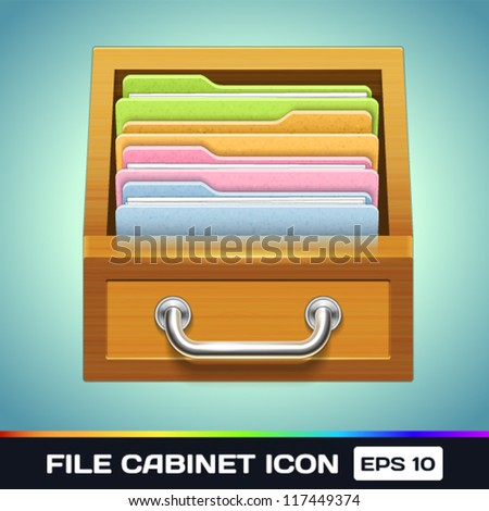 Vector File Cabinet with Folders Icon - stock vector