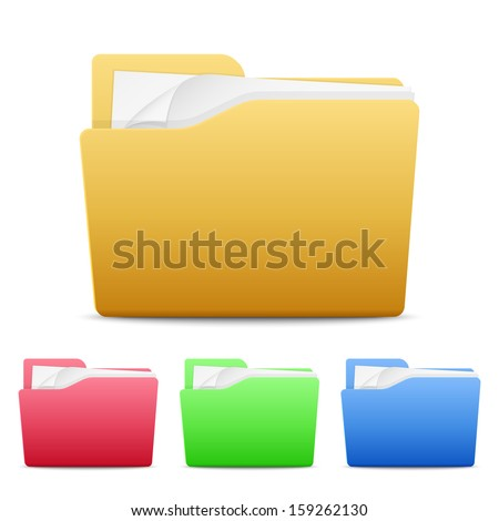 Vector file folders icons isolated on white background - stock vector