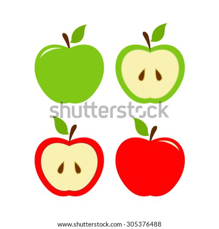 vector file of green and red apples - stock vector
