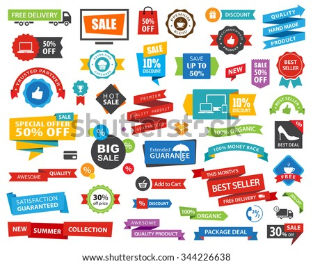 Vector file representing a Tag Label Sticker Banner Ribbons collection set. - stock vector