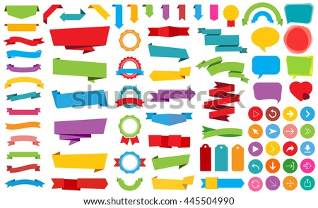 Vector file representing Ribbon Labels Stickers Banners and Ribbons collection.  - stock vector