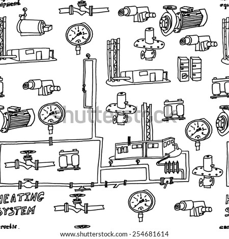 Vector file. Sketch of engineering heat energy networks, pipelines, modular boilers, water pipes, valves, pumps, production technology municipal equipment, providing warmth. - stock vector