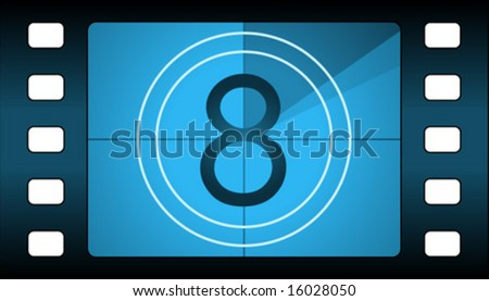 Vector film countdown. Number 8. - stock vector