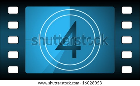 Vector film countdown. Number 4. - stock vector
