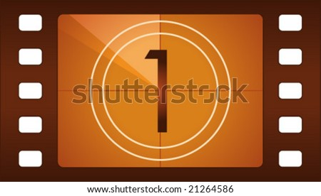 Vector film countdown. Number 1. - stock vector