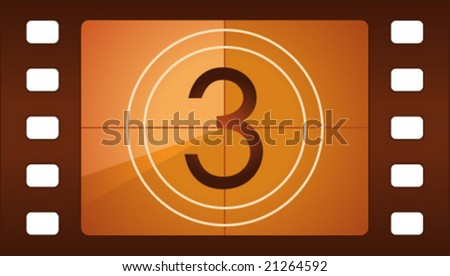 Vector film countdown. Number 3. - stock vector
