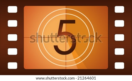 Vector film countdown. Number 5. - stock vector