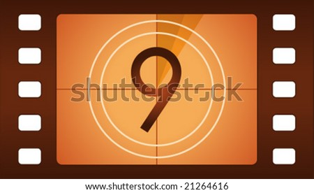 Vector film countdown. Number 9. - stock vector