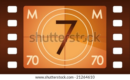 Vector film countdown. Number 7 alternative. - stock vector