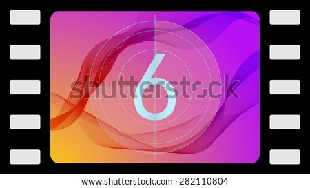 Vector film countdown on an abstract background. Frame 6 of 10. - stock vector