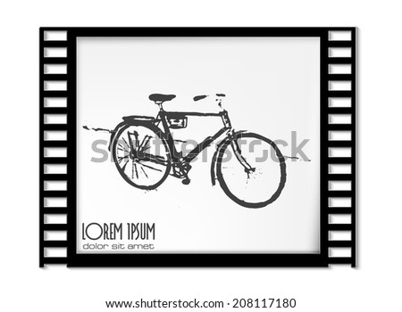 Vector Film Frame with Bicycles - stock vector