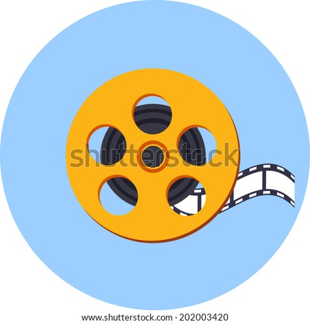 Vector Film Reel  with a Film Strip - stock vector