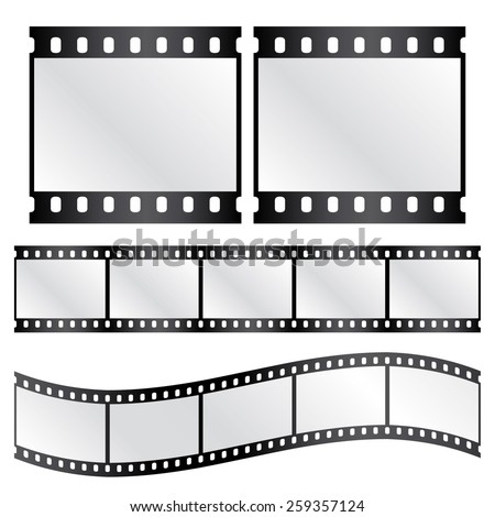 Vector film strips - waveform and straight strip. Insulated windows - you can create variable long straight filmstrip. Eps 10 vector file.  - stock vector