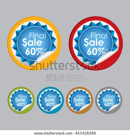 Vector : Final Sale 60% Off Campaign Promotion Infographics Icon on Circle Peeling Sticker