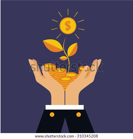 Vector finance concept in flat style  investing money, coins in hand, money treed - stock vector