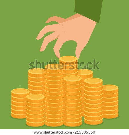 Vector finance concept in flat style - stack of golden coins and human hand - stock vector