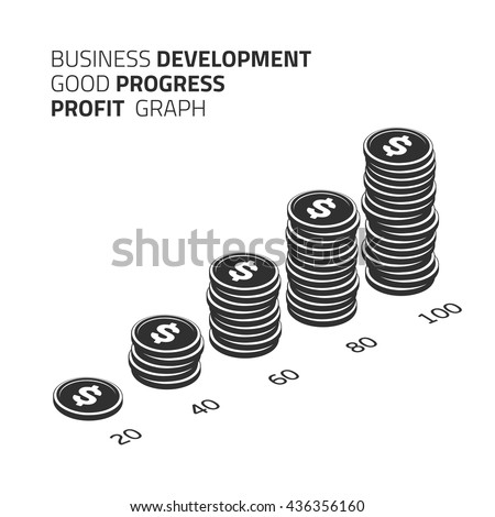 Vector financial growth concept with stacks of coins. Vector illustration coins cash money in rouleau. Isolated on white background in modern flat style. Money. Black and white coins profit. - stock vector