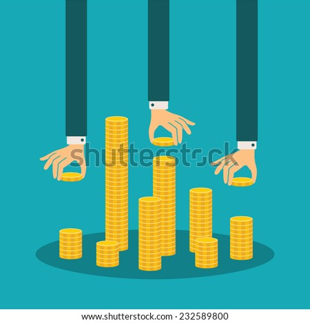 Vector financial management concept with stack of golden coins - stock vector