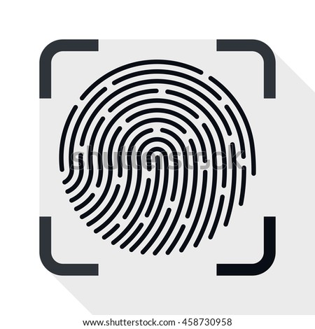 Vector Fingerprint Scanner simple icon in flat style with long shadow on white background