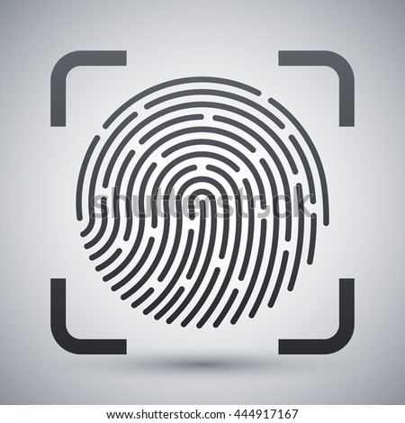 Vector Fingerprint Scanning icon. Fingerprint Scanning simple icon on a light gray background