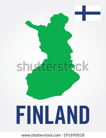 Vector Finland Map and Flag Set - stock vector