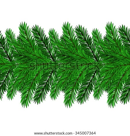 Vector Fir Green Branches Isolated on White Background
