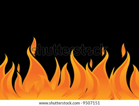 vector fire and flames on black background