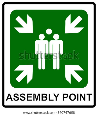Vector fire emergency icons. Signs of evacuations. Fire assembly point. Icons for evacuation plan. Emergency symbol. Group of people for evacuation. Vector assembly point. Emergency meeting. - stock vector