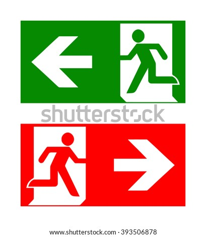 Vector fire emergency icons. Signs of evacuations. Fire emergency exit in green and red. Exit signs. Emergency fire symbols for evacuation plan. - stock vector