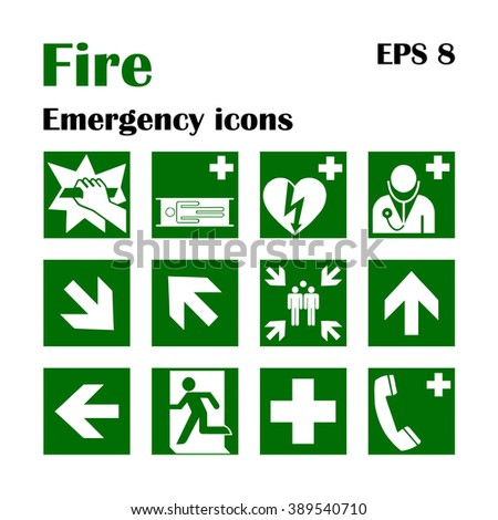 Vector fire emergency icons. Signs of evacuations. Fire emergency exit in green, assembly point. - stock vector