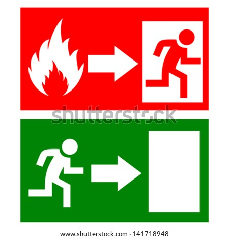 Vector fire exit signs - stock vector