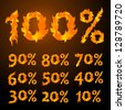 vector fire flame font Percents templates for sale 100%, 90%, 80%, 70%, 60%,  50%, 40%, 30%, 20%, 10% - stock vector