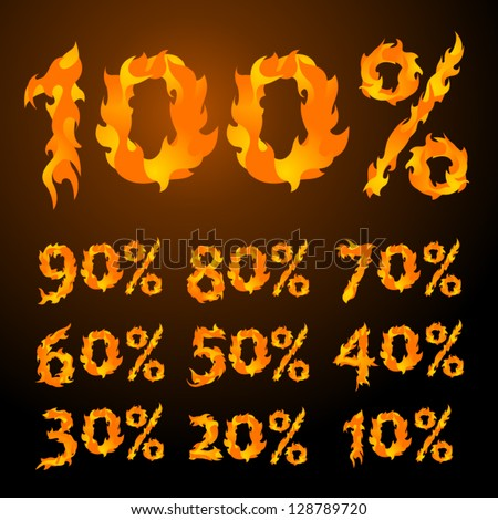 vector fire flame font Percents templates for sale 100%, 90%, 80%, 70%, 60%,  50%, 40%, 30%, 20%, 10%