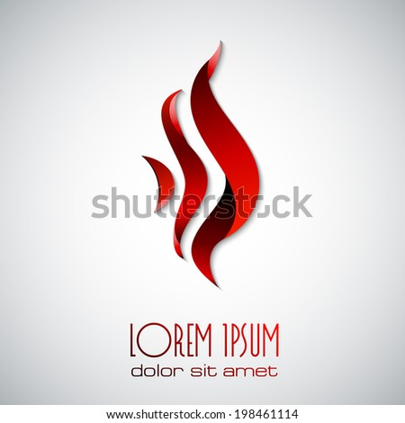 Vector fire flame vector icon design template tongues of flame creative symbol abstract - stock vector