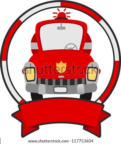 vector fire truck banner  - vehicle banner series - stock vector
