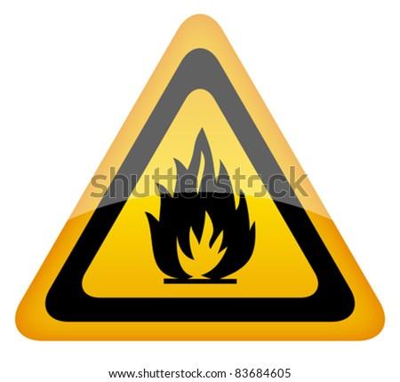Vector fire warning sign, eps10 illustration - stock vector